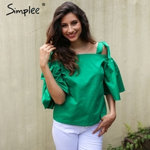 Simplee Strap flare sleeve blouse shirt Women top tees Tie up loose causal green blouse 2017 summer streetwear party tops blusas