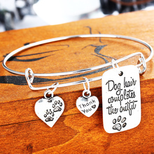 Dog Hair Completes The Outfit Love Heart Dog Tag Paws Prints Bangle Pet Charm Bracelet For Women Men Jewelry Gifts(China)