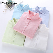 Tikilisa Women Quality Long Sleeve Blouses Casual Tops BRAND Cotton Oxford Solid OFFICE White Woman Shirts Chemisier Blusas(China)
