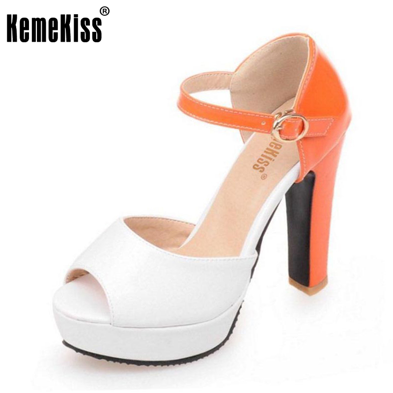 KemeKiss Size 34-43 Women Mixed Color Open Toe Sandals Buckle Ankle Strap High Heels Women Shoes Fashion Platform Party Footwear<br>