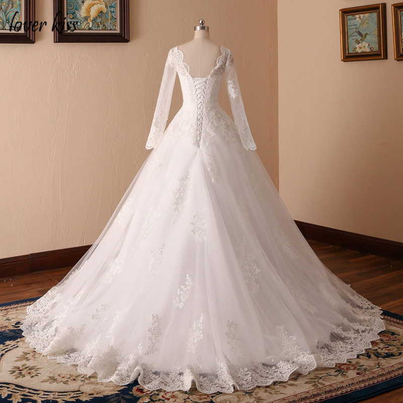 Lover Kiss Vestido De Noiva Custom Sheer Tulle Long Sleeve Wedding Dress Corset Back Lace Ball Gown Bridal Gowns For Weddings 4