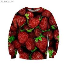 ALMOSUN Women Men Full Strawberry Fruits Crewneck Sweatshirts Red 3D Print Street Style Girls Harajuku Outfits Sweats Unisex
