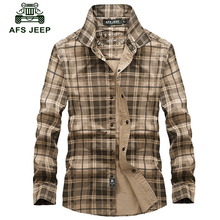 Free shipping AFS Jeep Long Sleeve Shirt Blanket Plaid Shirt Fall Warm Business Men Men Cotton Shirt plus size S-4XL Z108(China)