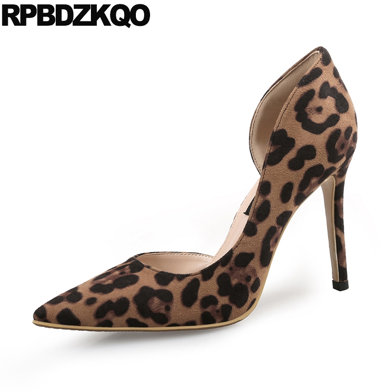 Thin Super China Pointed Toe Ultra Pumps Big Size Shoes Suede Catwalk Leopard Print High Heels Extreme Ladies Chinese New