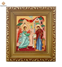Factory outlets cheap wood photo frame lcon of the Annunciation orthodox religion byzantine art style religious crafts hot sale