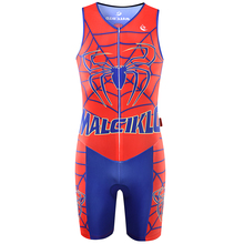 MALCIKLO 2017 Triathlon Mtb Cycling Sleeveless Spiderman Jumpsuit Breathable Vest One-piece Jersey Race Clothing