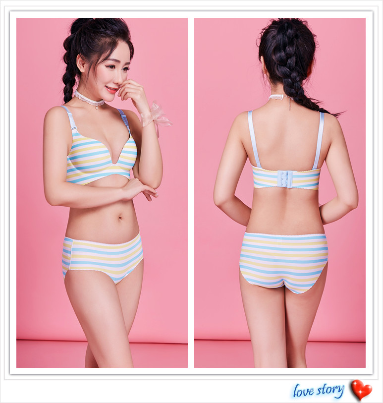 Blue One-Piece small Young women wire free  bra no brackets sexy bra lingerie suit young ladies thick summer Bra & Brief Set