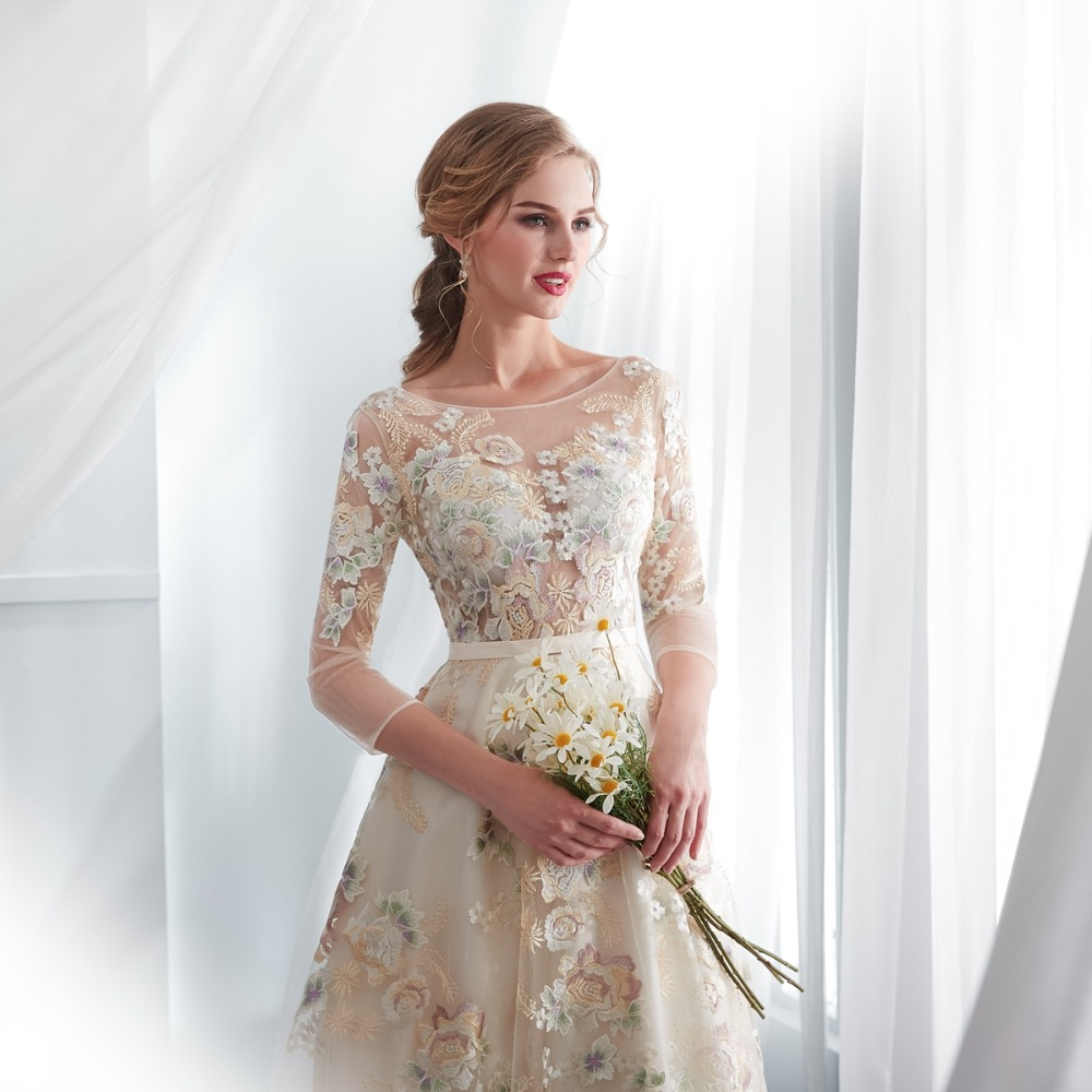buy cheap Floral Champagne Dress Belt Empire Evening Gown on sale online