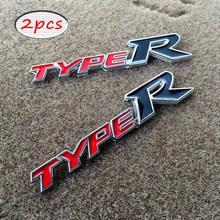 Metal TYPE R Car Chromed Emblem Badge Stickers TYPER Grill Back Logo Decal Sticker For Honda Acura Kia Auto accessories(China)