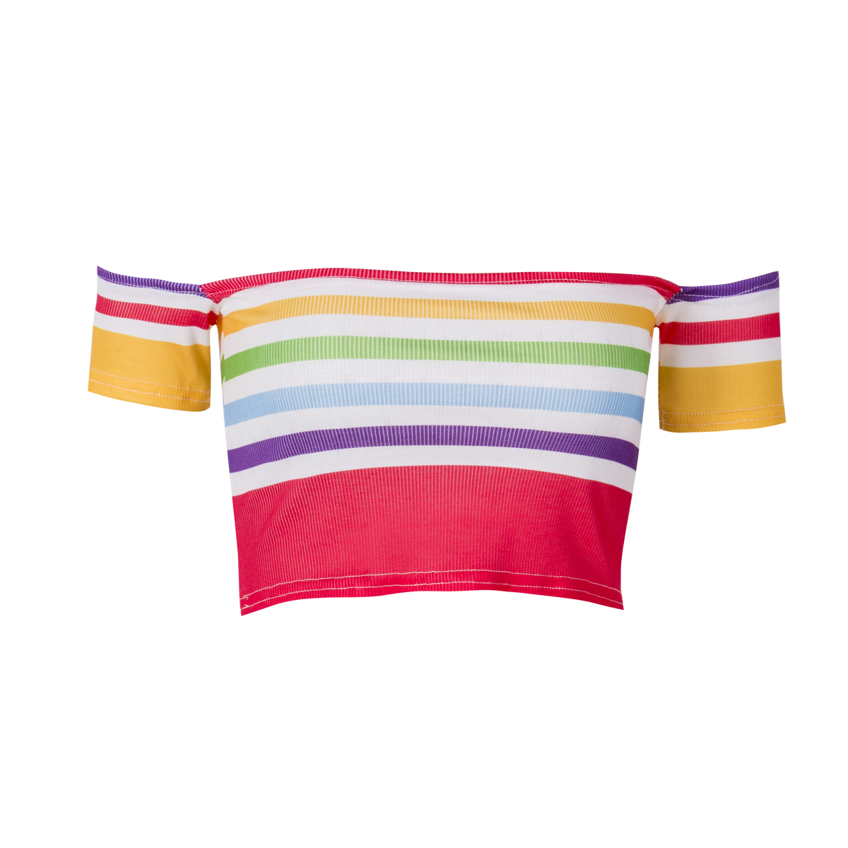 Rainbow Stripe Off Shoulder Short Sleeve Crop Tops