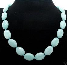 "ddh003808 13x18mm  light Blue Oval Beads Natural stone  Necklace 18"" N Discount"