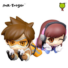 Mr.Froger Tracer Figure D.Va Action Figures Toys Chibi Dolls Game PVC Kids Games Figura POP Cute Watches Anime Figurine Model