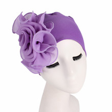 Fashionable love side big flower bamboo fiber elastic hat lady elegant fashionable chemo Muslim Indian cap Chemotherapy beanies(China)