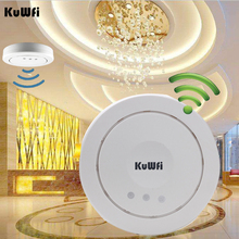 Kuwfi High Power Wireless Ceiling Access Point 300Mbps Indoor AP Wifi Repeater Signal Booster 24V POE Adapter Wireless Router(China)