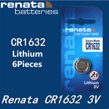 6Pcs/lot renata CR1632 CR 1632 3v Lithium Battery Remote control battery car remote battery Scales , motherboard battery