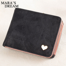 2017 Lady Cute Heart Shape PU Leather Slim Mini Wallet Women Small Clutch Female Short Purse Coin Card Holder Photo Holder