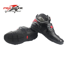 Pro biker Motobotinki leather boot for motorcycle moto boots botas para motorcycles motorboats Shoes motocross breathable black(China)