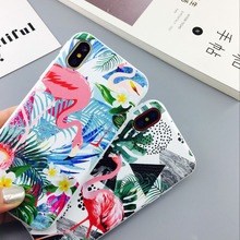 Buy Cartoon Flamingo Soft phone Case iphone X 6 7 8 6S PLus Phone Cases Lovely Cartoon Flowers Soft IMD Case coque capa case for $2.17 in AliExpress store