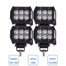 4PCS 18W Offroad LED Work Light Bar 12V 24V Vehicle Auto ATV Car Motorcycle Truck Trailer 4X4 4WD SUV Fog Lamp Running Headlight