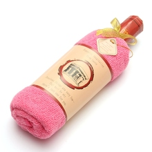 100% Cotton Towel Wine Bottle Shape Towel Pink Coffee Red  Gift Present Box Single Wine Bottle Cake Gift
