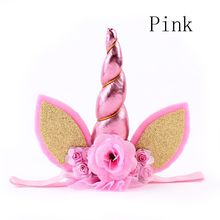 1 PC 2017 New Hot Kids Girls Gold Chiffon Flower Unicorn Elastic Headband Birthday Party Holiday Gift Headwear Accessories