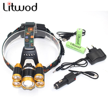 Litwod z30 Led Headlamp adjustable 5 Chips XM-L T6 LED Headlight 12000 Lumen Head Lamp Flashlight Lanterna 4 Switch Model