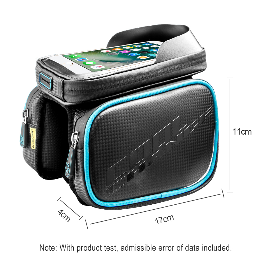 CoolChange Bicycle Frame Front Head Top Tube Waterproof Bike Bag&Double IPouch Cycling For 6.0 in Cell Phone Bike Accessorie
