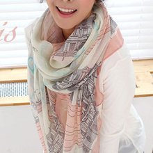 Fashion Women Autumn Winter New Eiffel tower voile printing Long scarf Popular Shawl