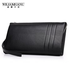 WILIAMGANU Top Cow Genuine Leather Wallet men Long Coin Purse Business Casual Wallet Brand Zipper Purse Male Wallet QB079