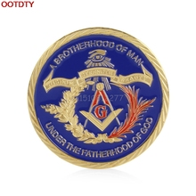 Coin Gold Plated Masonic Brotherhood of Man Commemorative Challenge Coin Collection Gift