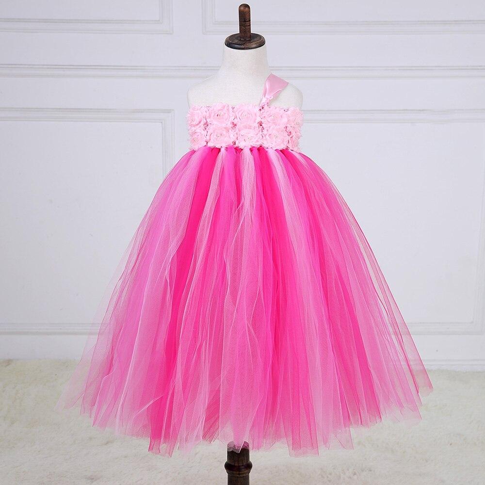 Elegant Shabby Flower Girl Wedding Tutu Dress Hot Pink One Shoulder Prom Gown Bridesmaid Party Tulle Dresses Kids Formal Tutus<br>