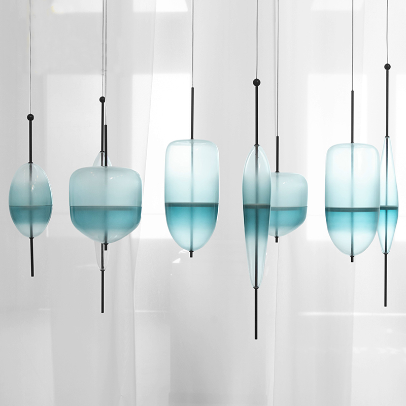 Blue chromatography Italian design lamp pendant light Lake of Venice Blue gradient Simple Peaceful Pure pendant lighting glass(China)