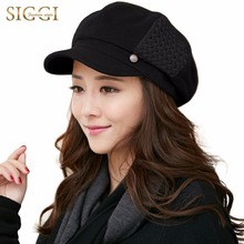SIGGI Wool Blend Hat Women Winter Newsboy Cap Beret Painter Visor Casquette gavroche 68091(China)