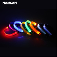 Namsan Dog Puppy Doggie Pet Transparent Flashing Lights Nylon Collars (Small,Medium,Large,Extra-Large) & (Yellow,Red,Blue,Green)