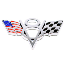 YAQUICKA 3D Metal US USA America Flag V8 Emblem Styling Sticker Universal Badge Decal Fit for Ford Chevrolet Dodge Jeep etc.(China)