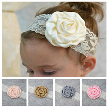 1 PCS New Cute Children Kids Floral Rose Headbands Baby Lace Head Band Newborn Wrap Head Bands Head Accessories Turban Hot Sale