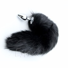 Buy Black 35CM Love Metal Anal Plug Adult Product Romance Faux Fox Tail Butt Sex Toy