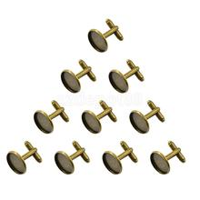 10pcs Metal Blank Antique Bronze CuffLinks Blank 16mm Pad findings Cuff links for Men(China)