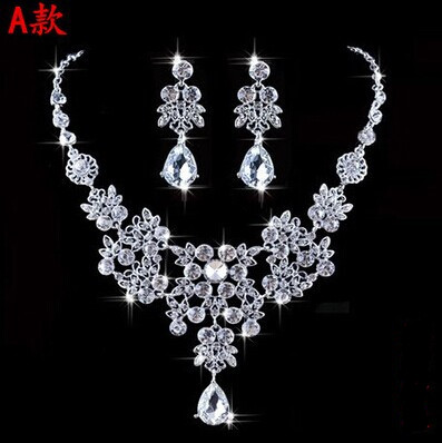 High Quality Silver Luxury Oversize Crystal Wedding Jewelry Sets Hollow-out Flower Necklace&Earrings Set For Woman (9)