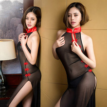 Cheongsam Style Women Sexy Babydoll Transparent Maid Cosplay Nightdress Split Long Nightgown Decorated With Chinese Knot(China)