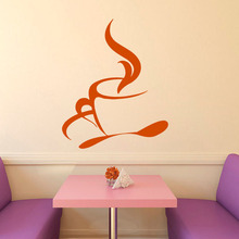 Wall Decals Hot Coffee Tea Cup Spoon Kitchen Cafe Interior Design Home Wall Vinyl Decal Sticker Art Mural Children Room Decor