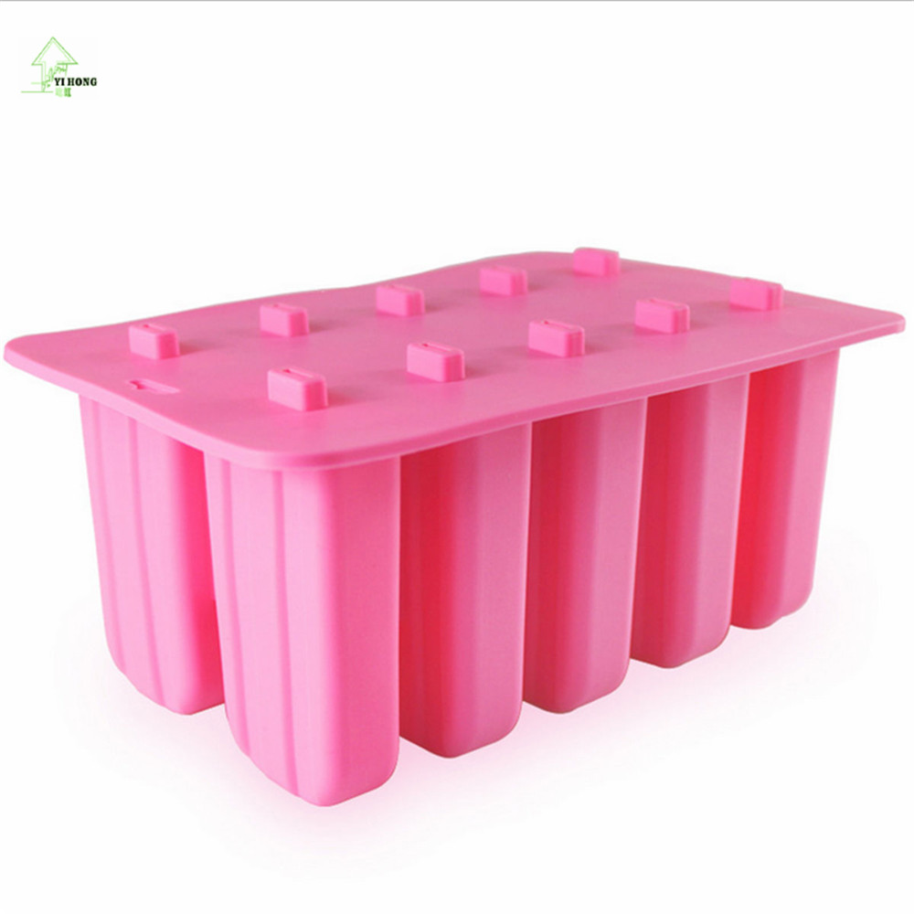 10 Cell Frozen Ice Cream Pop Mold Popsicle Maker Lolly Mould Tray Pan Kitchen Tools DIY With 12 Sticks Red Pink White MAYITR