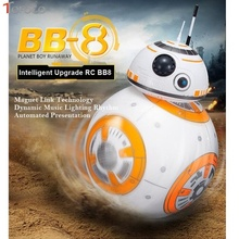 TOFOCO Star Wars RC BB8 Intelligent Upgrade Ball 2.4G Remote Control Droid Robot BB-8 Model With Sound Light Kid Toy Xmas Gift(China)
