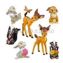 New 2017 Cartoon Bambi Thumper Flower Playset 7pcs Suit Rabbit Cute Figure Cake Topper Toy Doll Set Christmas Gifts