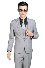 (Jacket+Pants+tie) Groom Tuxedos high quality Fasion Men Suits for Wedding Business men suits Groom Wear  Light Grey Color