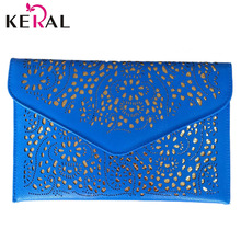 2015 Hot New Hollow chains envelope bag neon color cutout bag pu candy color day clutch women's messenger bags Fast Shipping