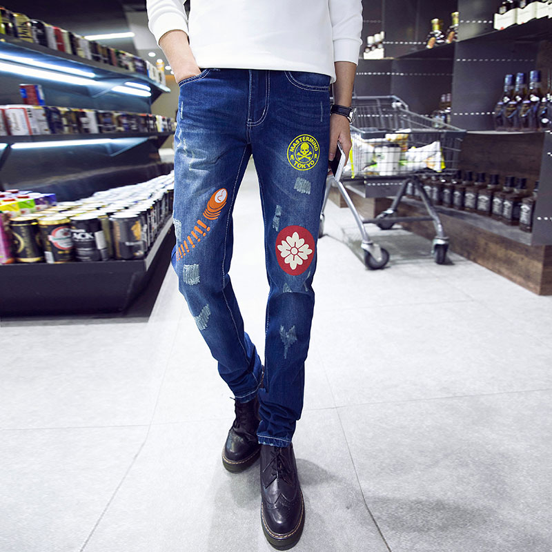 2017 New Fashion Mens Straight Jeans Famous Brand Denim Ripped Jeans Pants High Quality Male Straight Jeans Trousers Hot SaleОдежда и ак�е��уары<br><br><br>Aliexpress