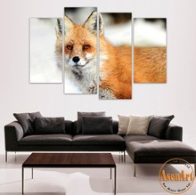 4 Panel Art Fox Painting Animal Picture Prints on Canvas Painting for Living Room Home Decoration Wall Art Unframed