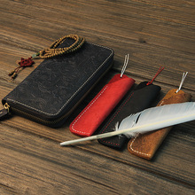 Vintage Genuine Leather Pen Bag For Travel Diary Pen Case Cowhide Pencil Cover for Leather Notebook
