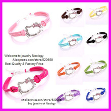 Free shipping 30pcs/lot Crystal rhinestone Hello Kitty Charm Girls Ladies Leather Friendship Bracelet with 10 colors